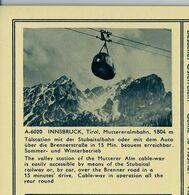 Carte Illustrée Neuve N° 411. - 48/16. - A-6020  INNSBRUCK, Tirol, Mutteralmbahn, 1804 M (télécabines) - Entiers Postaux