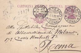 ITALIA - REGNO - SARTEANO (SIENA) INTERO POSTALE C. 25 - VIAGGIATO PER ROMA - Interi Postali