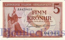 ICELAND 5 KRONUR 1957 PICK 37b UNC - Islanda