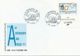 Cachet Commémoratif SFPP-SATA Rhone-Alpes - Exposition A La Découverte Des Pôles - Lyon - 16 Et 17 Octobre 1993 - Événements & Commémorations