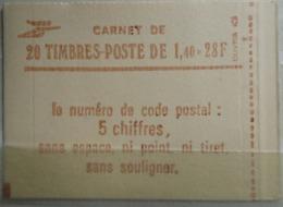 FRANCE 1980 Carnet N ° 2102 - C7a ** Conf 8 - Type SABINE 1,40 Fr ROUGE Cote : 38 Euros - Uso Corrente