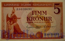 ICELAND 5 KRONUR 1957 PICK 37a UNC - IJsland