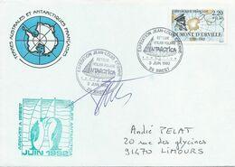 Cachet Commémoratif Expédition Jean-Louis Etienne - Retour Voilier Polaire Antartica à Brest - 3 Juin 1992 + Signature - Forschungsprogramme