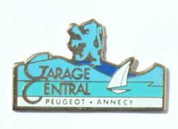 Pin's GARAGE CENTRAL - Peugeot - Annecy (74) - Lion Et Voilier - J634 - Peugeot