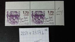 FRANCE N° 2357 + 2357b** En Paire  VARIETE - Curiosa: 1941-44 Postfris
