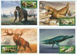 2872-2875 Mih 2655-2658 Russia 06 2020 NO EXTRA FEES Maximum Card 2 Prehistoric Fauna Dinosaurs Mammoths Paleontological - Maximumkaarten
