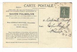 Semeuse  YT  130 ( F )  Roulette  Cad 1924  Cp Palmolive  Mme Gobeau - Bouvier  , Reims - France