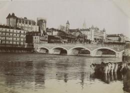 France Pyrenees Pau Vaches Dans Le Gave Chateau Ancienne Photo 1900 - Oud (voor 1900)