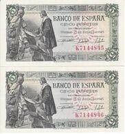 PAREJA CORRELATIVA DE 5 PESETAS DEL AÑO 1945 SERIE K EN CALIDAD EBC+ (XF)  (BANKNOTE) - [ 3] 1936-1975 : Regime Di Franco