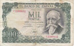 CAPICUA - BILLETE DE 1000 PTAS DEL AÑO 1971 DE ECHEGARAY Nº 2389832 -DESCUIDADO (BANKNOTE) - [ 3] 1936-1975 : Regime Di Franco
