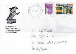Chouette (hibou) Sur Lettre De 2004 (de Salon-la-Tour, Pays D'Uzerche Vers La Belgique) (Timbre Le Train Jaune) - Búhos, Lechuza
