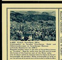 Carte Illustrée Neuve N° 411. - 48/18. - A-6833   KLAUS, Vorarlberg, 520 M. - Entiers Postaux