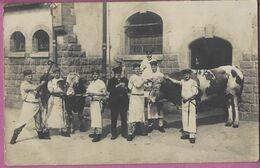 Orig.Foto AK Soldatenkarte Metz ,Soldaten Metzger Vieh Rinder Schlachtung,Schlachter,Foto Brüere Metz Rattenturmstrasse - Guerre 1914-18