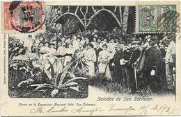 Saludos De SAN SALVADOR - Picnic En La Exposicion Nacional 1904. Belle Animation. CPA Peu Courante Ayant Circulé En 1908 - El Salvador