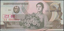 TWN - NORTH KOREA 39a-SP - 1 Won 1992 Specimen - 0000000 - Prefix ㄴㅊ UNC - Korea, North