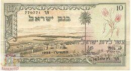 ISRAEL 10 LIROT 1955 PICK 27b XF - Israel