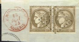 A9b-N° 56 CàD TUNIS PAR BÖNE/ ALGERIE En Rouge Indice 21 Sur Lettre - 1871-1875 Ceres