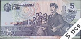 TWN - NORTH KOREA 40b3 - 5 Won 1998 DEALERS LOT X 5 - Prefix ㄴㄴ UNC - Korea, North
