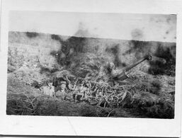 Grande Photo Cartonnée De Soldat Camouflé Avec Leurs Canon Sur Le Front En 14-18 - Guerre, Militaire