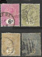Ceylon   1886-99  Sc#134, 136, 138-9  4 Diff Queen Victoria Used  To The 28c   2016 Scott Value $6.50 - Ceylon (...-1947)