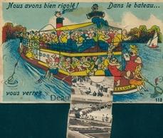 Leporello Cp Deauville Calvados, Salondampfer Mit Touristen, Angeln - Frankreich