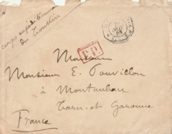 """1883 - Enveloppe Avec Cachet """"SAIGON ??""""  Du 20 NOV 1883 + Mention """"corps Expéditionnaire Du Tonkin"""" Pour Montauban + PP - Postmark Collection (Covers)"""