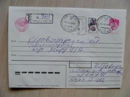 Cover Ukraine Registered Kirovograd 1993 Overprint Stamp On Ussr Postal Stationery Mixed Atm Machine Cancel - Ukraine