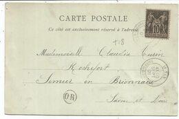 SAGE 10C CARTE TYPE 18 AT YAN SAONE ET LOIRE 10 SPET 1901 + OR L'HOPITAL - Marcophilie (Lettres)