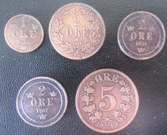 Suède / Sverige - 5 Monnaies 1 à 5 Öre Entre 1858 Et 1907 - Suecia