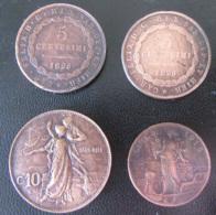 Italie + Royaume De Sardaigne - 4 Monnaies : 5 Centesimi 1826 L Et P, 10 Centesimi 1911, 5 Centesimi 1918 - Italy