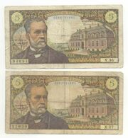 2 BILLETS 5 FRANCS  PASTEUR  MEME MOIS ET ANNEE   01 / 09 / 1966 SERIE N 36 ET X 27 - 5 F 1966-1970 ''Pasteur''
