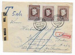 AUTRICHE - 1947 - ENVELOPPE Avec CENSURE + TAXE ! De LINZ => ESSLINGEN (GERMANY) - 1945-60 Brieven