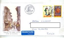 Pap Acceuillir + Gaston Cachet Rouen Fete Du Timbre 2001 Illustré Aquarelle - Prêts-à-poster:  Autres (1995-...)