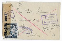 AUTRICHE - 1946 - ENVELOPPE PF CENSUREE De WIEN => UDINE (ITALIE) - RETOUR à L'ENVOYEUR - 1945-.... 2a Repubblica