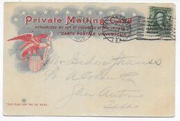 USA - 1905 - SUPERBE CARTE ILLUSTREE GEORGE Et MARTHA WASHINGTON (VOIR DOS) De BALTIMORE => SAN ANTONIO - Covers & Documents
