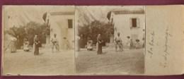 240820 - PHOTO STEREO - 09 ARIEGE SABART PAYSAN CHAMPS DEPIQUAGE AGRICULTURE METIER TRAVAIL FEMME HOMME ENFANTS FAUX - Otros Municipios