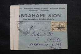 ALGÉRIE - Enveloppe Commerciale De Alger Pour La France En 1939 Avec Contrôle Postal - L 69451 - Briefe U. Dokumente