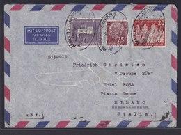 Bahnpost Luftpost Bund Brief Hamburg Osnabrück Heuss MIF Nach Mailand Italien  - Unclassified