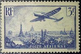FRANCE Y&T N°12 Variété (voir Plusieurs Points Bleus Filet Extérieur Ouest++++) Poste Aérienne 3Fr. Outremer Neuf* MH - 1927-1959 Nuevos