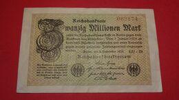 1923  GERMANIA REPUBBLICA DI WEIMAR BANCONOTE TEDESCA 20 MILLIONEN MARK GERMANY BANKNOT BILLET DE BANQUE ALLEMAND NAZI - [ 3] 1918-1933 : Repubblica  Di Weimar