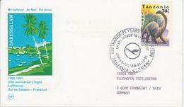 Tanzania - 30 Sh. Dinosaurier Lufthansa Erstflug Dar-es-Salam - Frankfurt/M 1991 - Tanzania (1964-...)