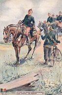 Guerre 1914 1918 Officier De Guides Renseignement Militaire Cavalier Velo Cycliste Illustration Illustrateur Armée Belge - Guerre 1914-18