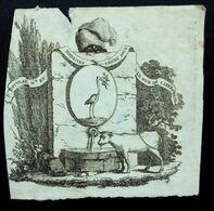 Ex-libris XVIIIe Héraldique, Blason, Vache Et Cigogne - Ex Libris