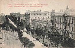 UKRAINE : ODESSA - Rue Deribas Vue De La Rue Préobrajenskaya + Timbre Cachet 1910 - Ucraina