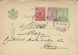1928- C P E P 2 Lei + Complément 4 Lei De Campulung Pour Paris - Covers & Documents