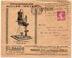 Semeuse Camée 20c Sur Enveloppe Illustrée 'Agrandisseurs Wetzig / RAACO à Strasbourg' - 1921-1960: Modern Period