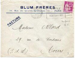 40c Paix PERFORE B.F. Sur Lettre De 1933 à En-tête 'Blum Frères / Paris' - Storia Postale