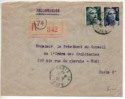 Gandon 2f + 4f Taille-douce Sur Lettre Recommandée De 1945 - 1921-1960: Periodo Moderno