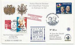 FRANCE - Env Affr Luquet Rouge + Vignette J.CHIRAC Obl KOUROU GUYANE 1997 +  BOLIVIE Timbre Chirac Visite D'Etat 1997 - 1997-04 Marianne Du 14 Juillet