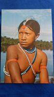 CPSM BRESIL BRASIL NATIVO INDIENS INDIOS RESERVE INDIGENE DE XINGU JEUNE  FEMME AUX SEINS NUS TRIBU NUE NU FOTO JESCO - Zonder Classificatie
